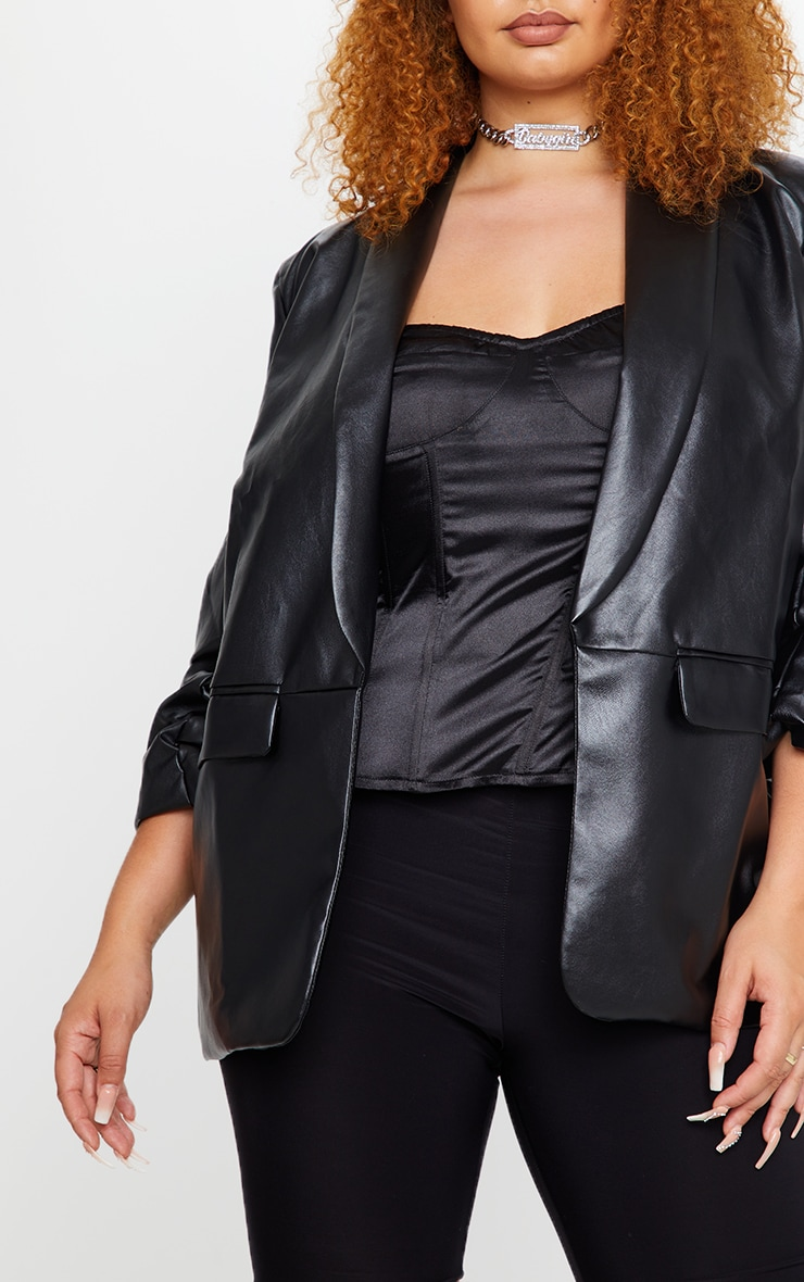 Plus Black PU Lapel Long Line Ruched Sleeve Blazer 4