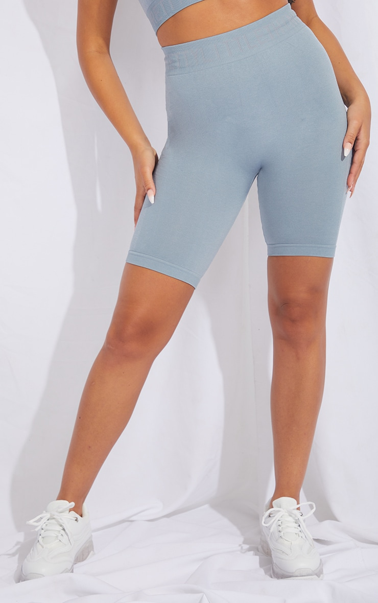 PRETTYLITTLETHING Pale Blue Seamless Cycling Shorts 2