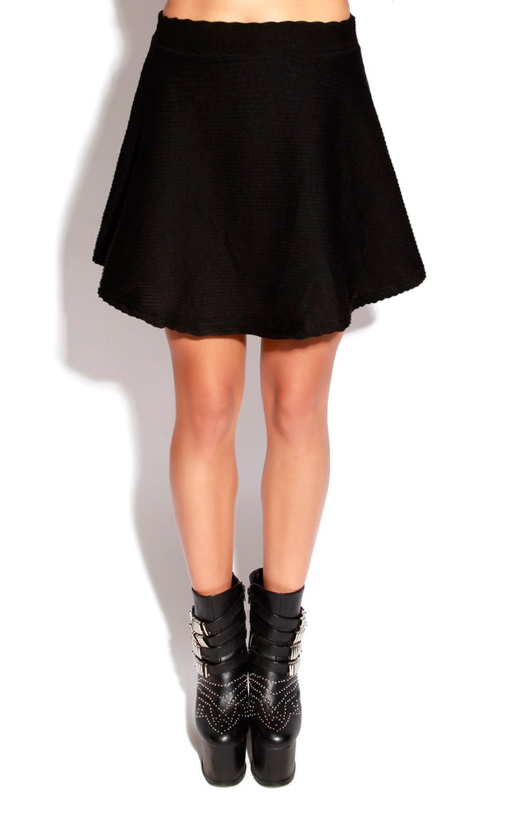 Black Ribbed Skater Skirt 2