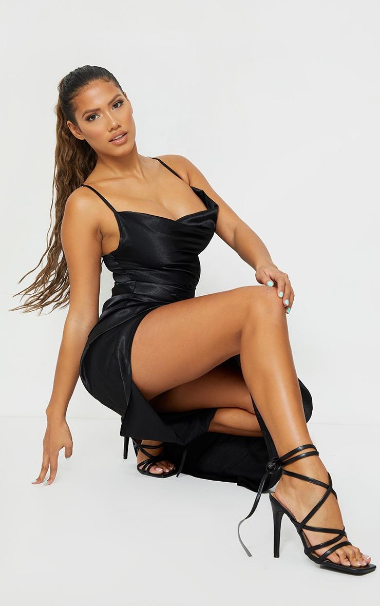 Shape Black Satin Cowl Side Split Ruched Maxi Dress 4