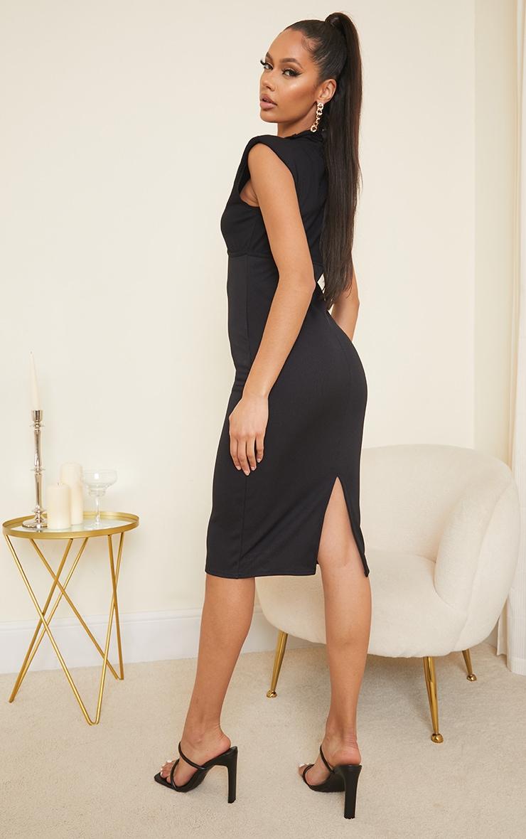 Black Shoulder Pad Underbust Binding Sleeveless Midi Dress 2