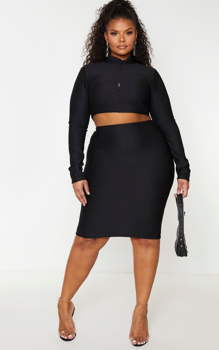 Plus Black Jumbo Rib Zip Front Long Sleeve Crop Top 3