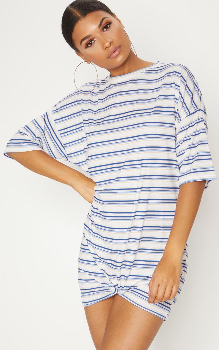 Multi Stripe Print Knot Detail T Shirt Dress