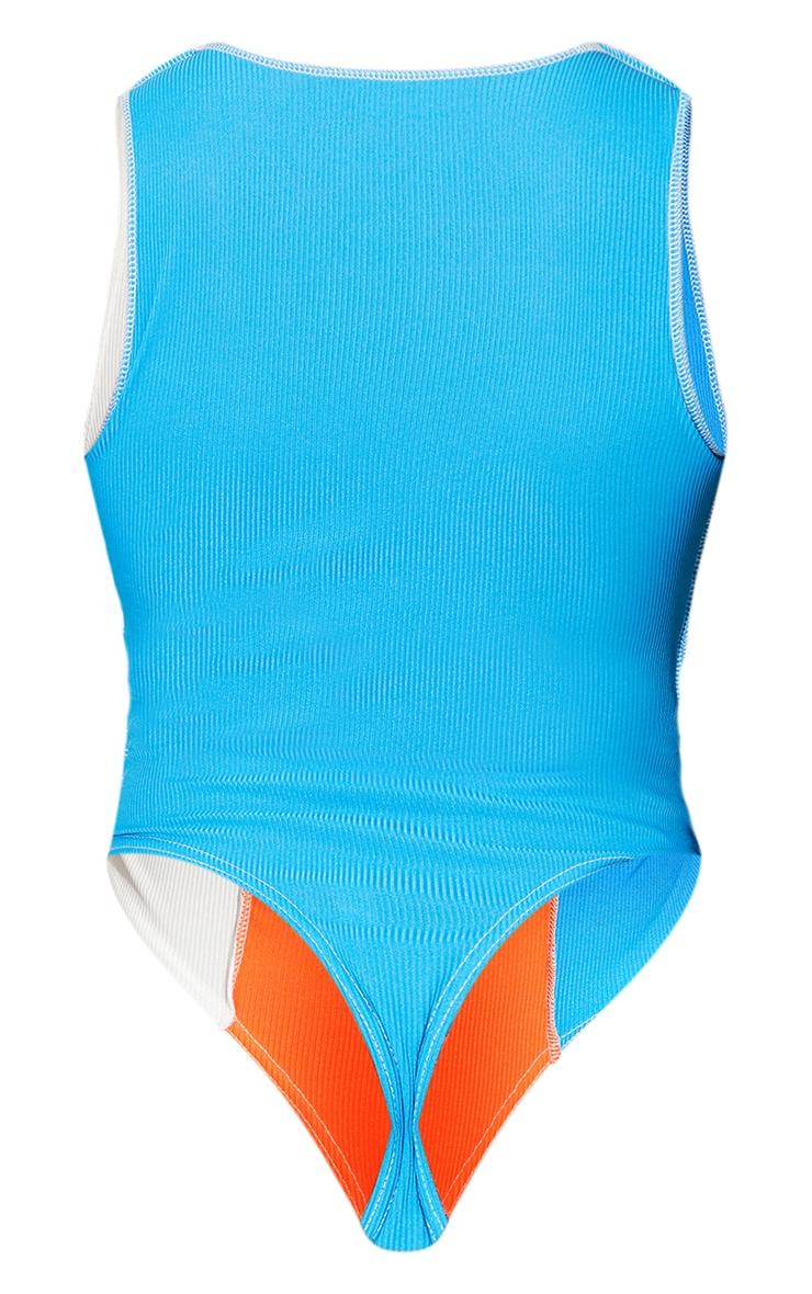 Blue Rib Spliced Bodysuit 6