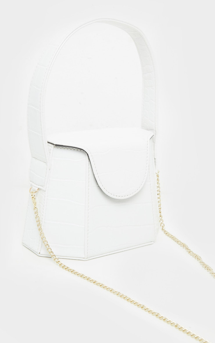 White Croc Angular Structure Cross Body Bag 3