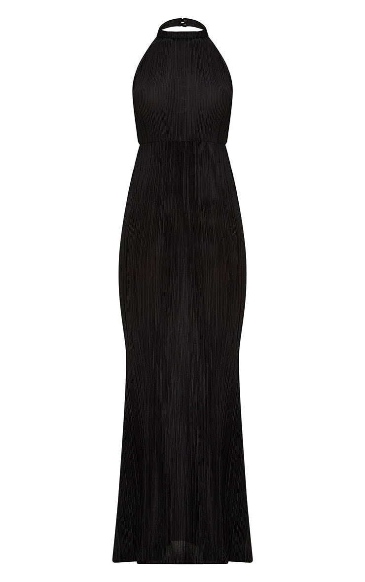 Black Pleated High Neck Maxi Dress 3