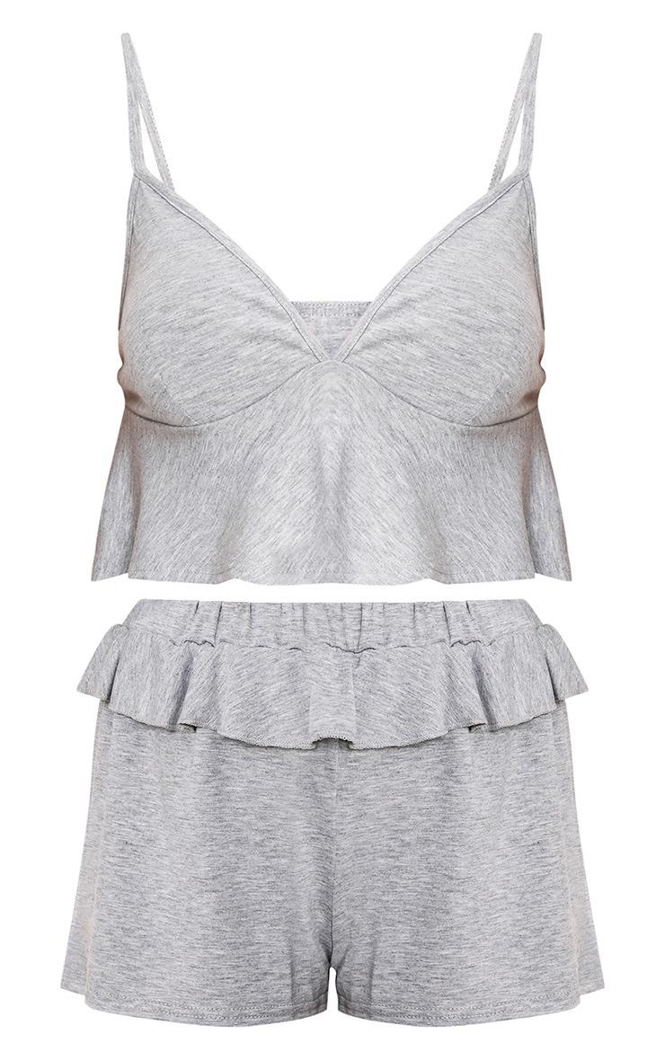 Grey Marl Frill Detail Nightwear Set 3