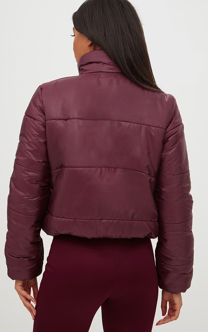 Burgundy High Shine Cropped Puffer Jacket 2