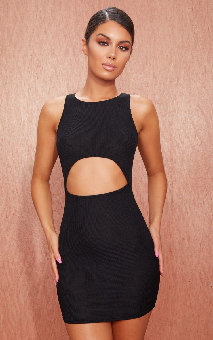 Basic Black Ribbed Underbust Detail Bodycon Dress