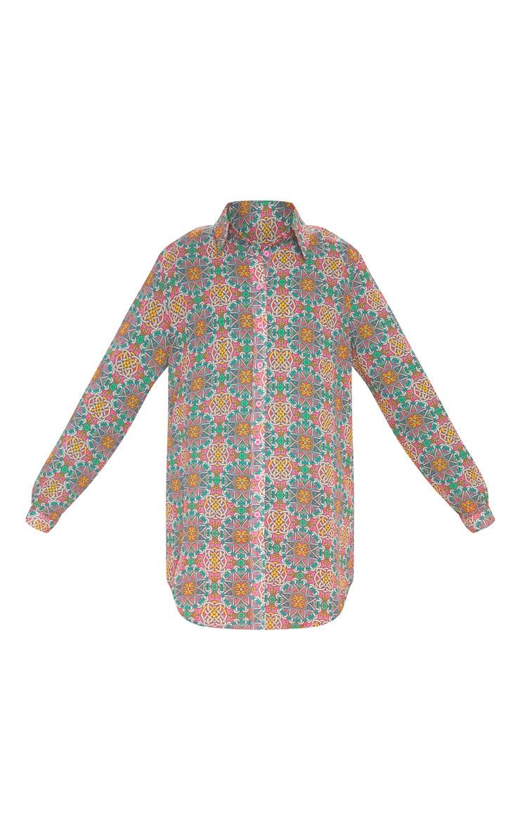 Multi Mosaic Print Beach Shirt 3