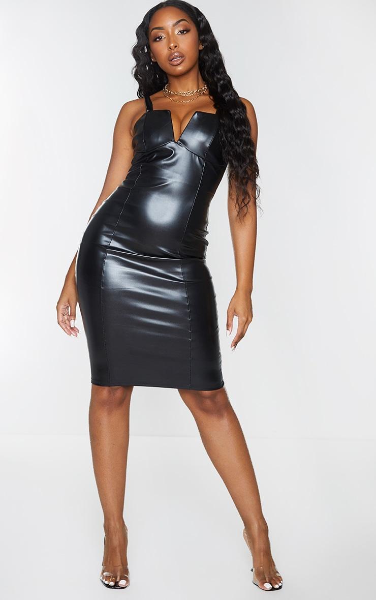 Black Faux Leather V Plunge Sleeveless Midi Dress 1