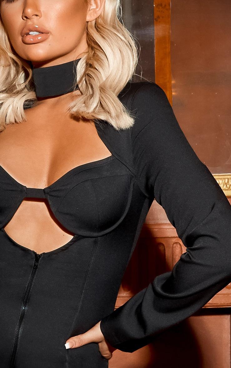 Black High Neck Cut Out Zip Front Dress 5