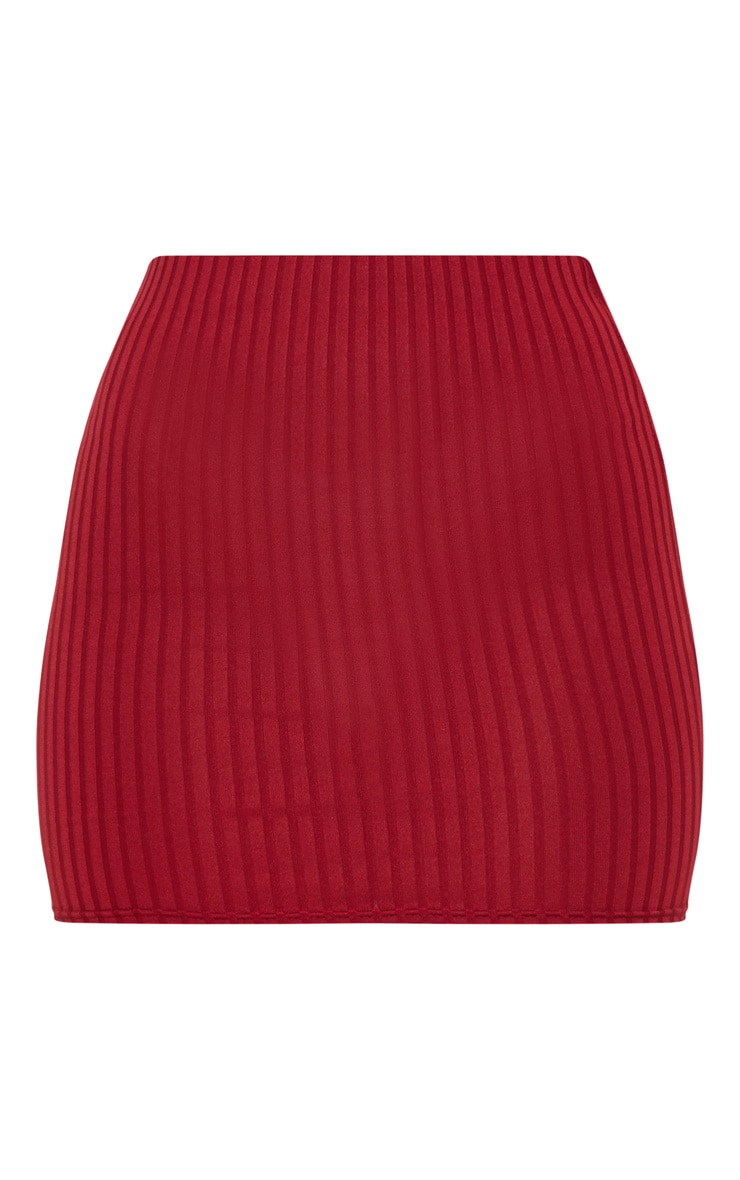 Burgundy Rib Mini Skirt 3
