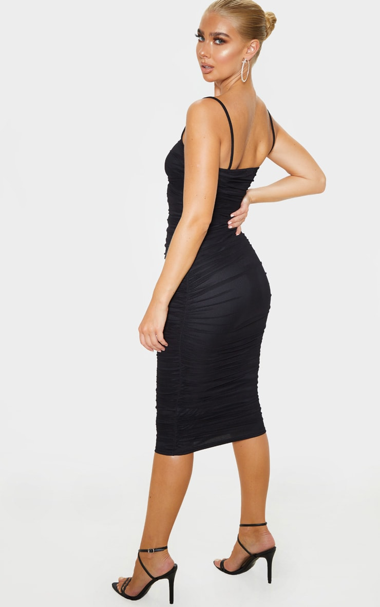 Black Strappy Mesh Ruched Midaxi Dress 4