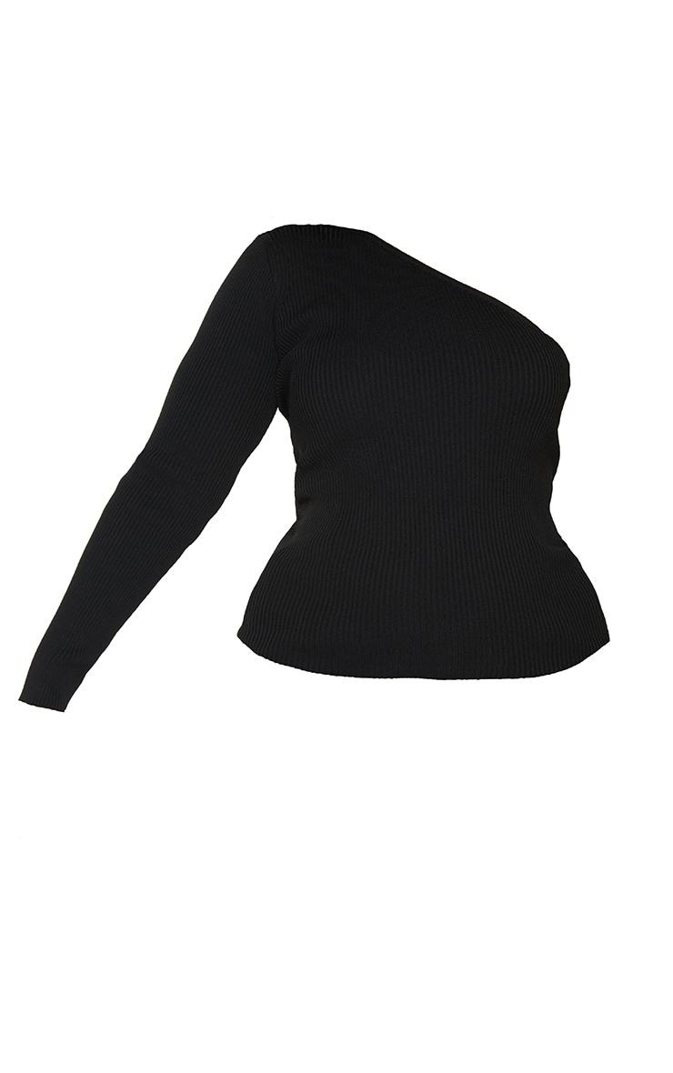 Plus Black Asymmetric One Sleeve Knitted Rib Top 5