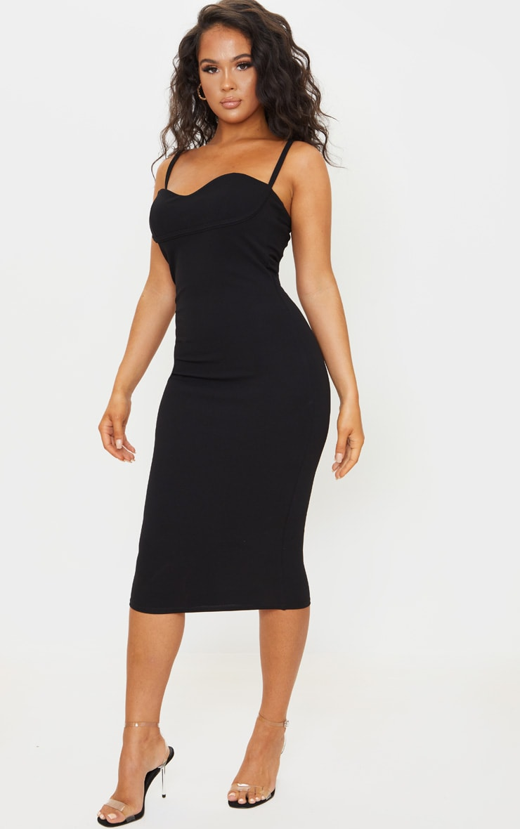 Black Strappy Cup Detail Midi Dress 3
