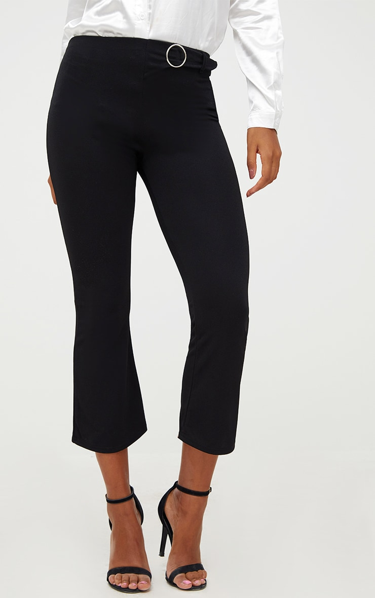 Black Ring Belt Detail Kick Flare Trousers 5