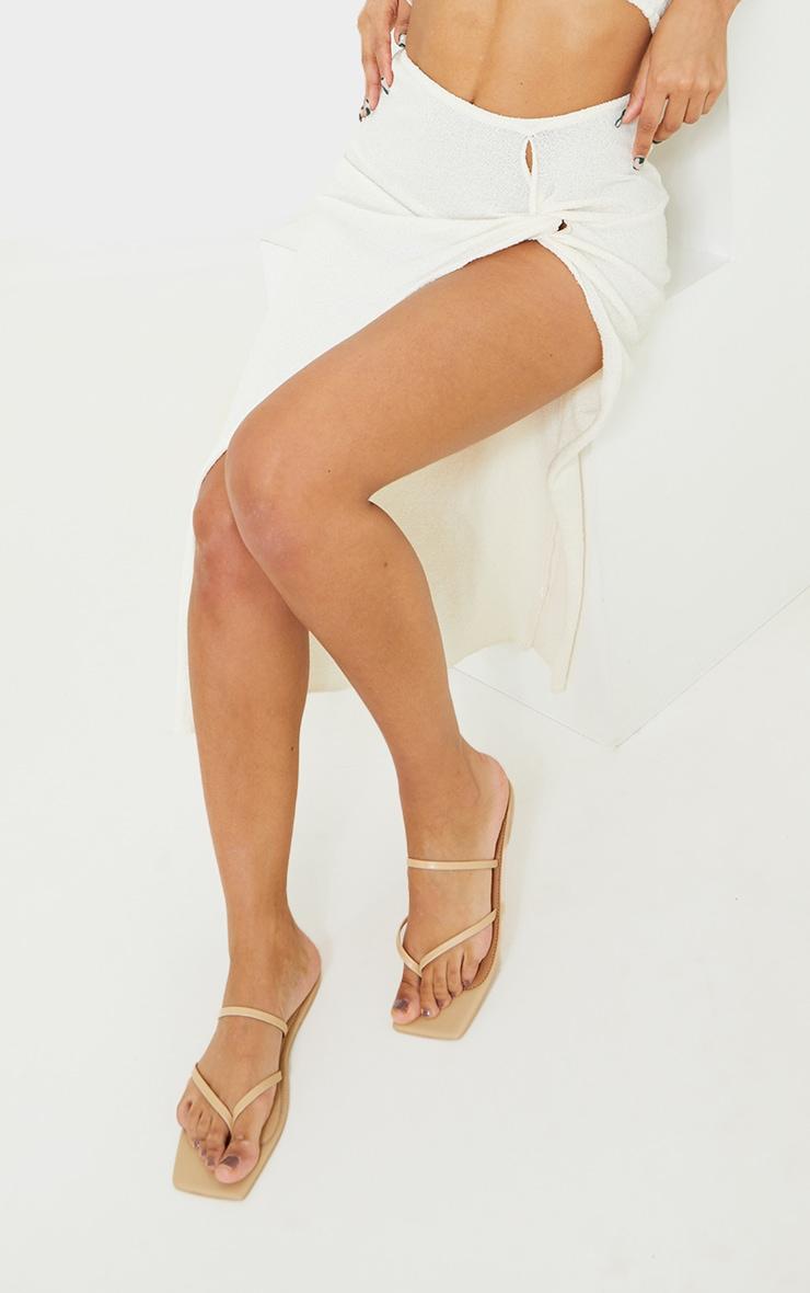 Nude Real Leather Toe Loop Slide On Square Toe Sandals 1