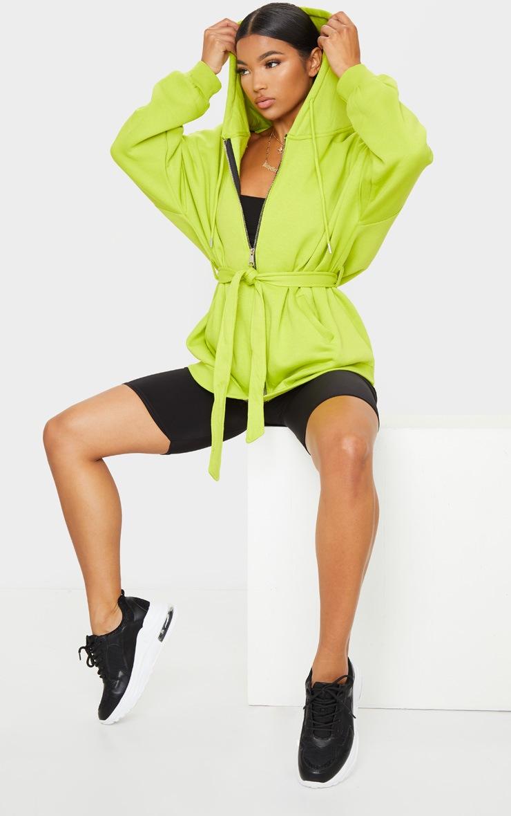 Lime Oversized Longline Zip Belted Hoodie Jacket 3