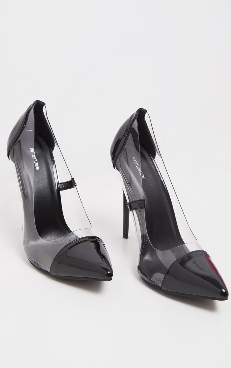 Black Patent Clear Court Shoes  2