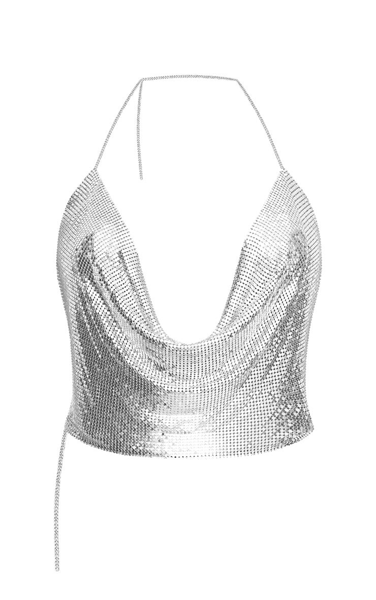 Mel Silver Extreme Cowl Neck Chainmail Top 4