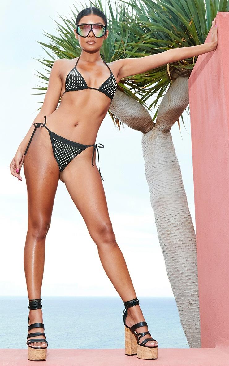 Black All Over Diamante Triangle Bikini Top 4