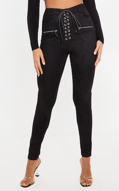 Black Faux Suede Lace Up Front Skinny Leg Trousers