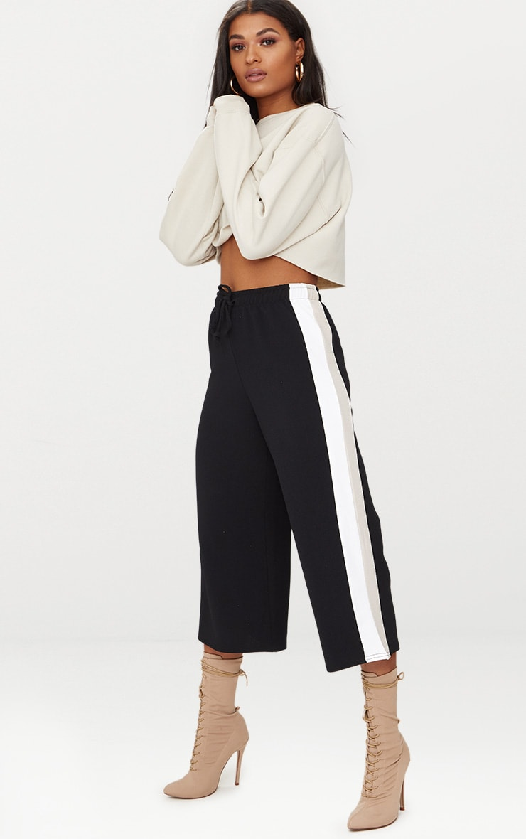 Black Side Stripe Drawstring Culottes