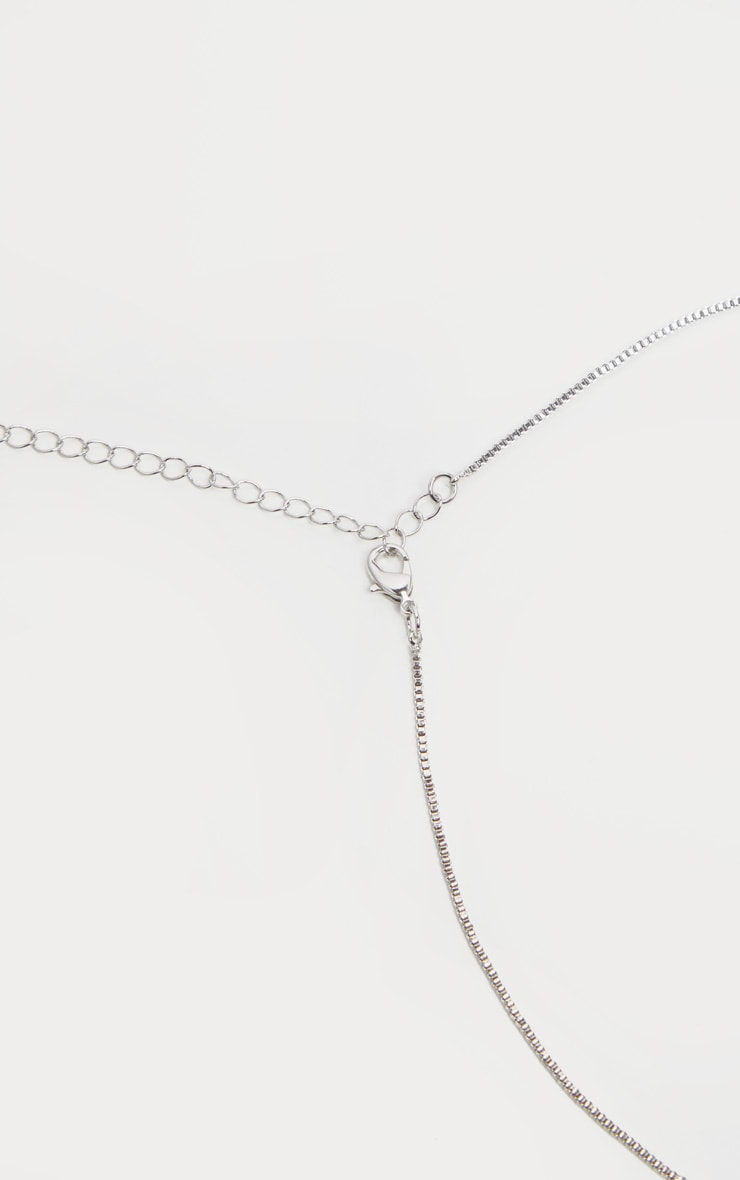 Silver Crystal Lariat Necklace 4