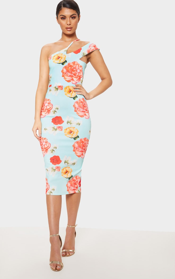 dc55e1d3e169 Baby Blue Floral Print Asymmetric Neck Midi Dress image 1