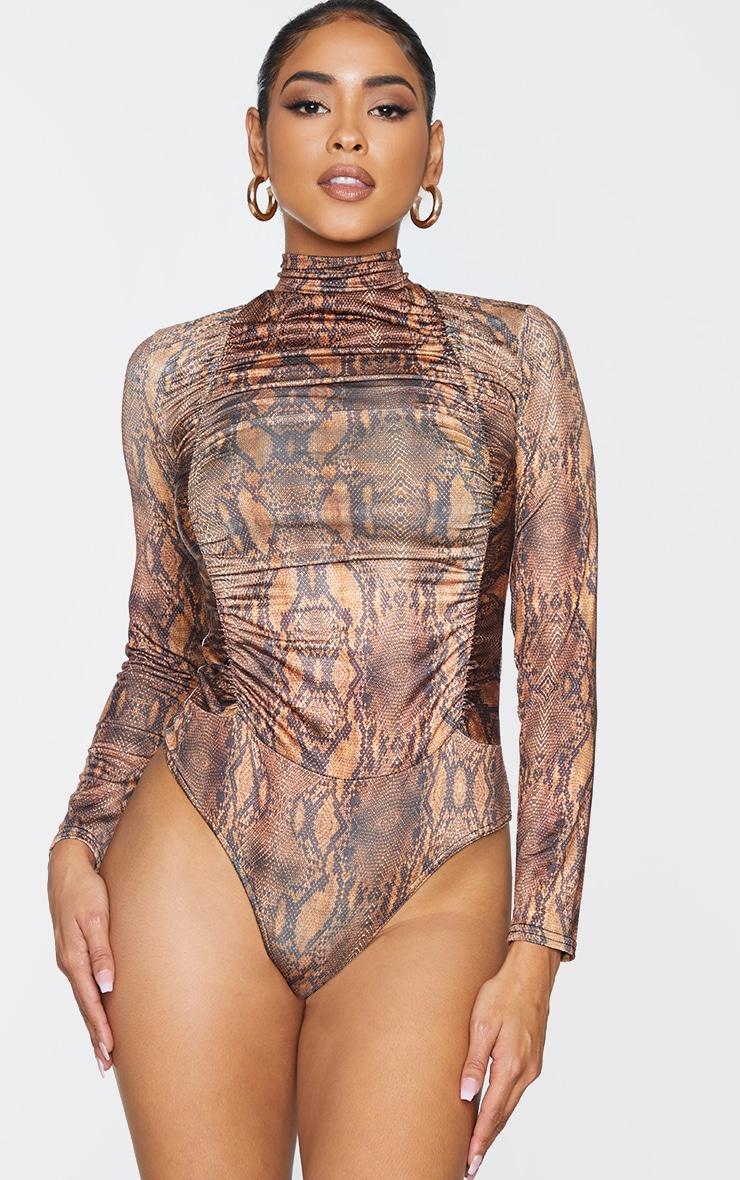 Brown Snake Print Jersey Draped High Neck Bodysuit 1