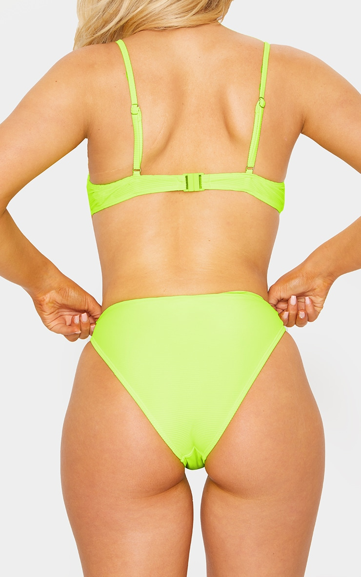 Neon Yellow Underwired Ribbed Balconette Bikini Top 4