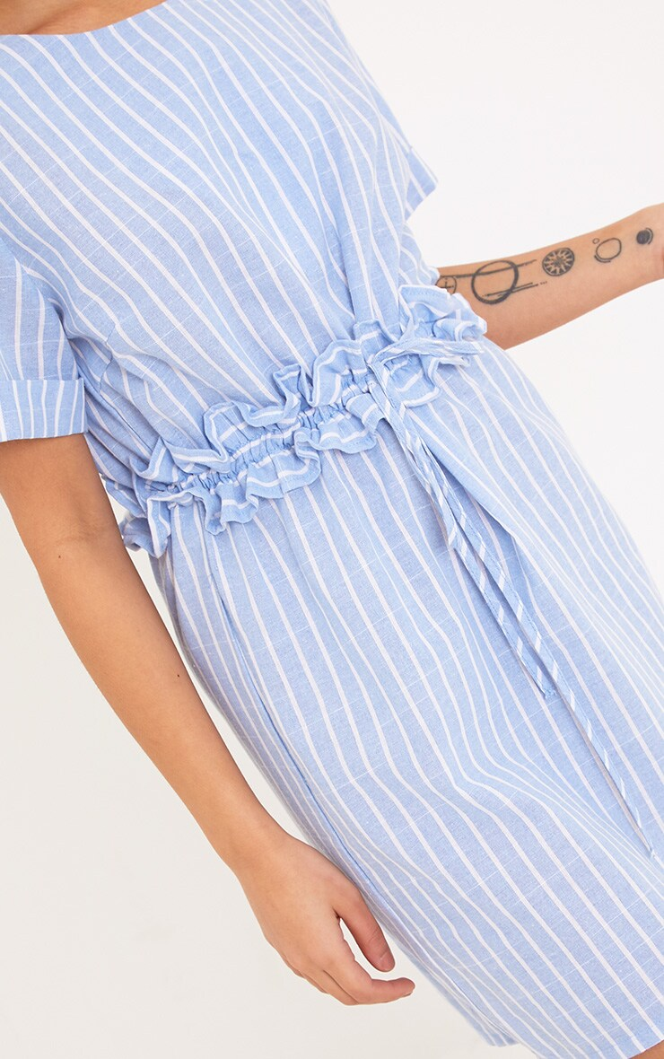 Kendrick Blue Pinstripe Frill Waist Detail Shift Dress 5