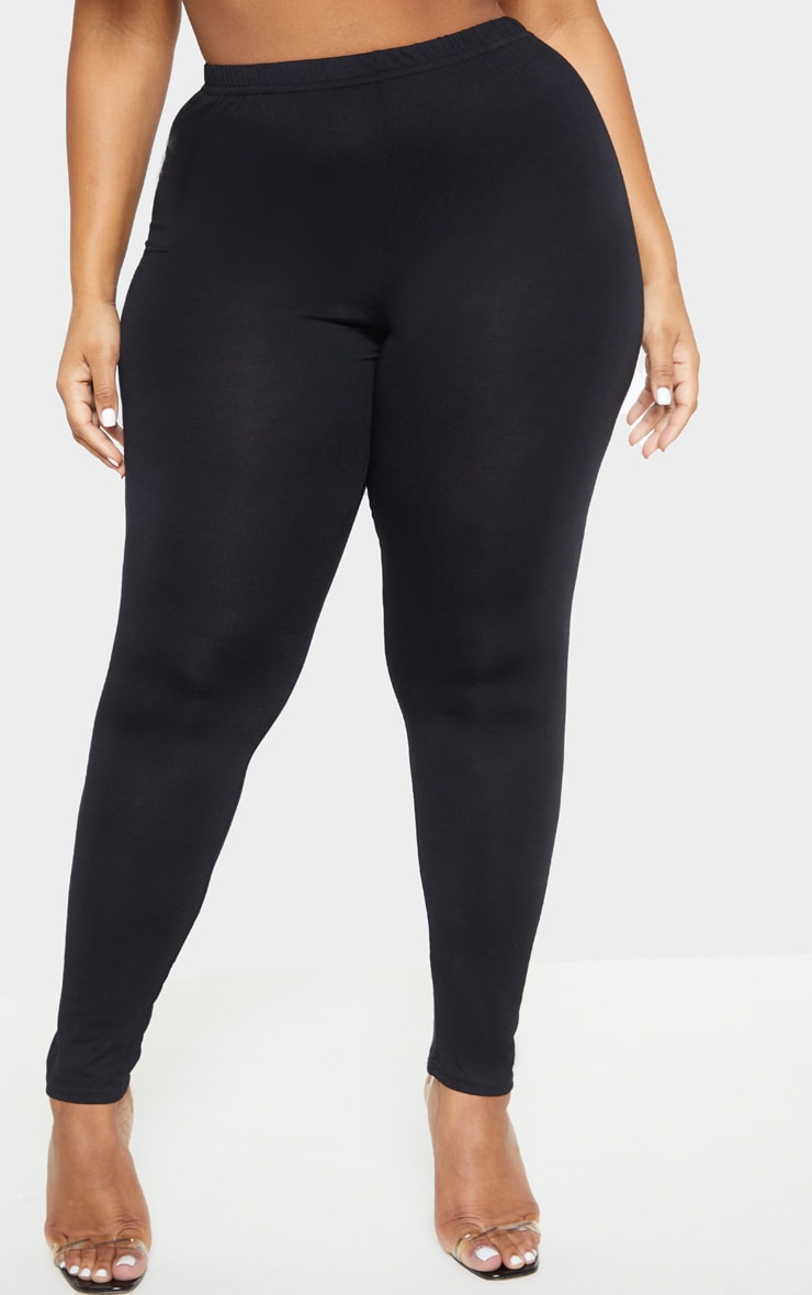 Plus Black Jersey Leggings 2