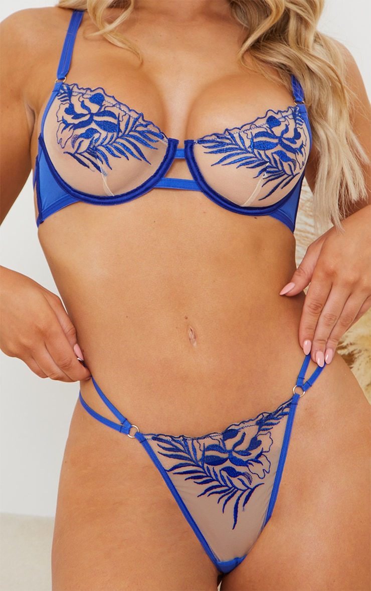 Cobalt Embroidered Lace Thong 4