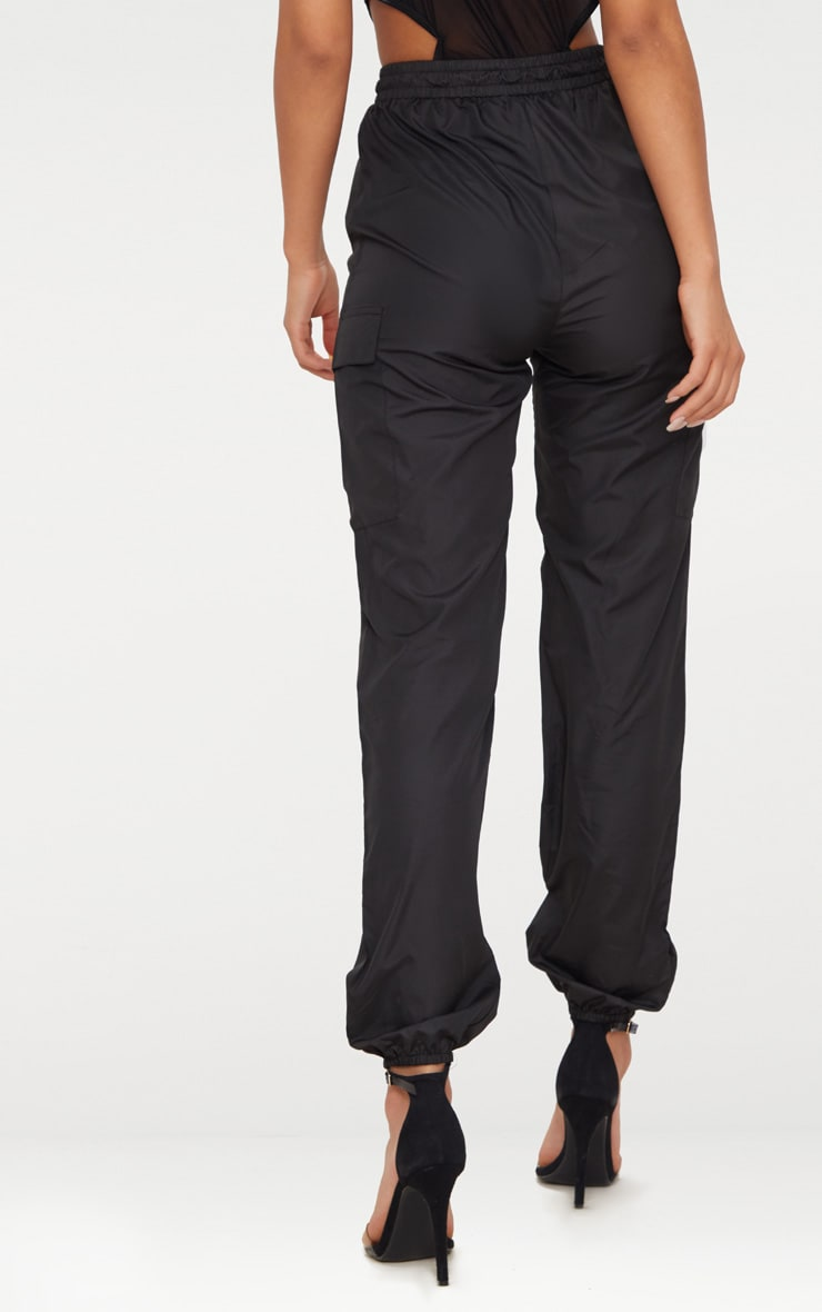 Black Toggle Waist Shell Suit Joggers 4