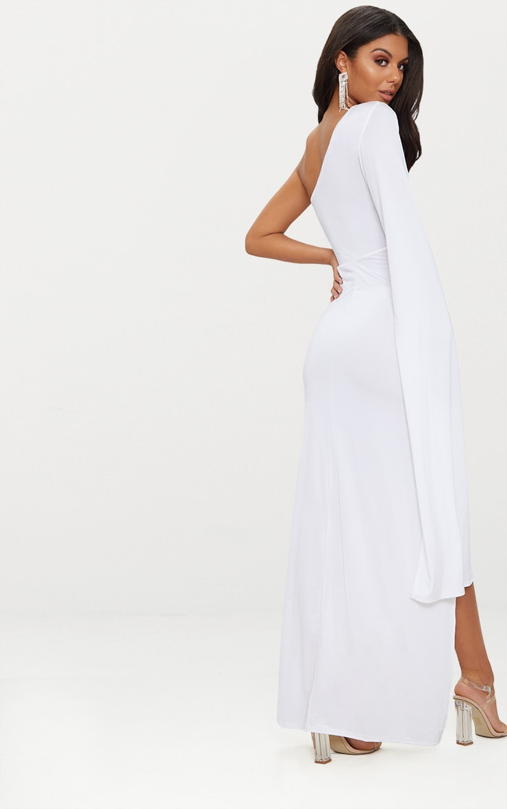 White Slinky One Sleeve Split Detail Maxi Dress 2