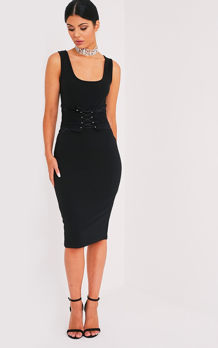 Katrina Black Corset Detail Square Neck Midi Dress 1