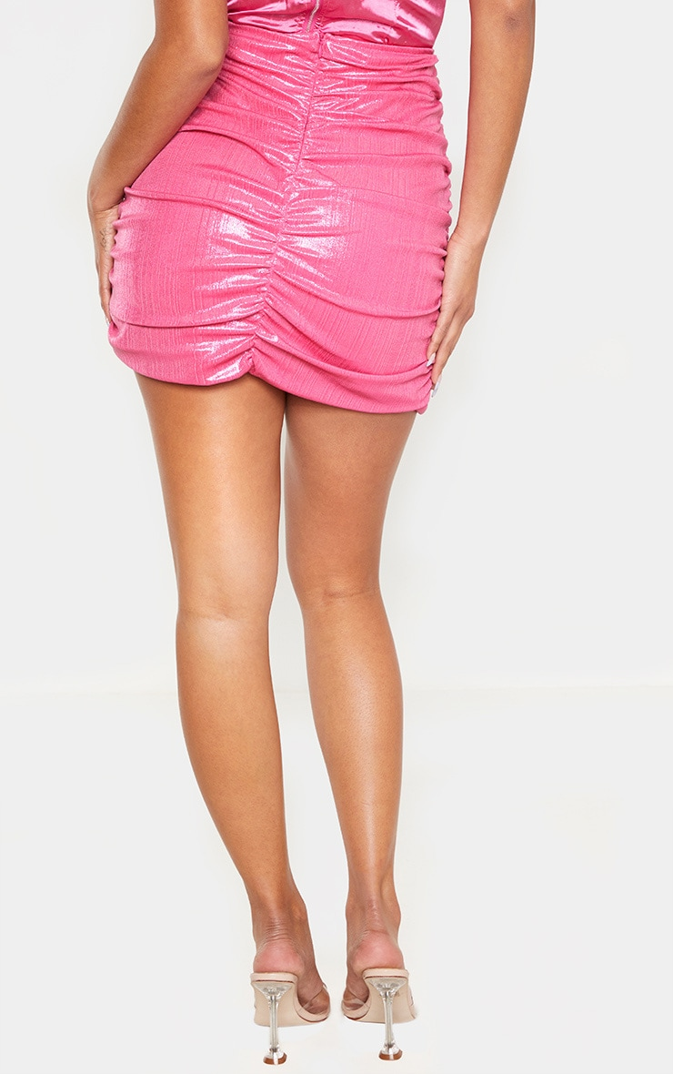 Pink Metallic Thread Ruched Mini Skirt 4