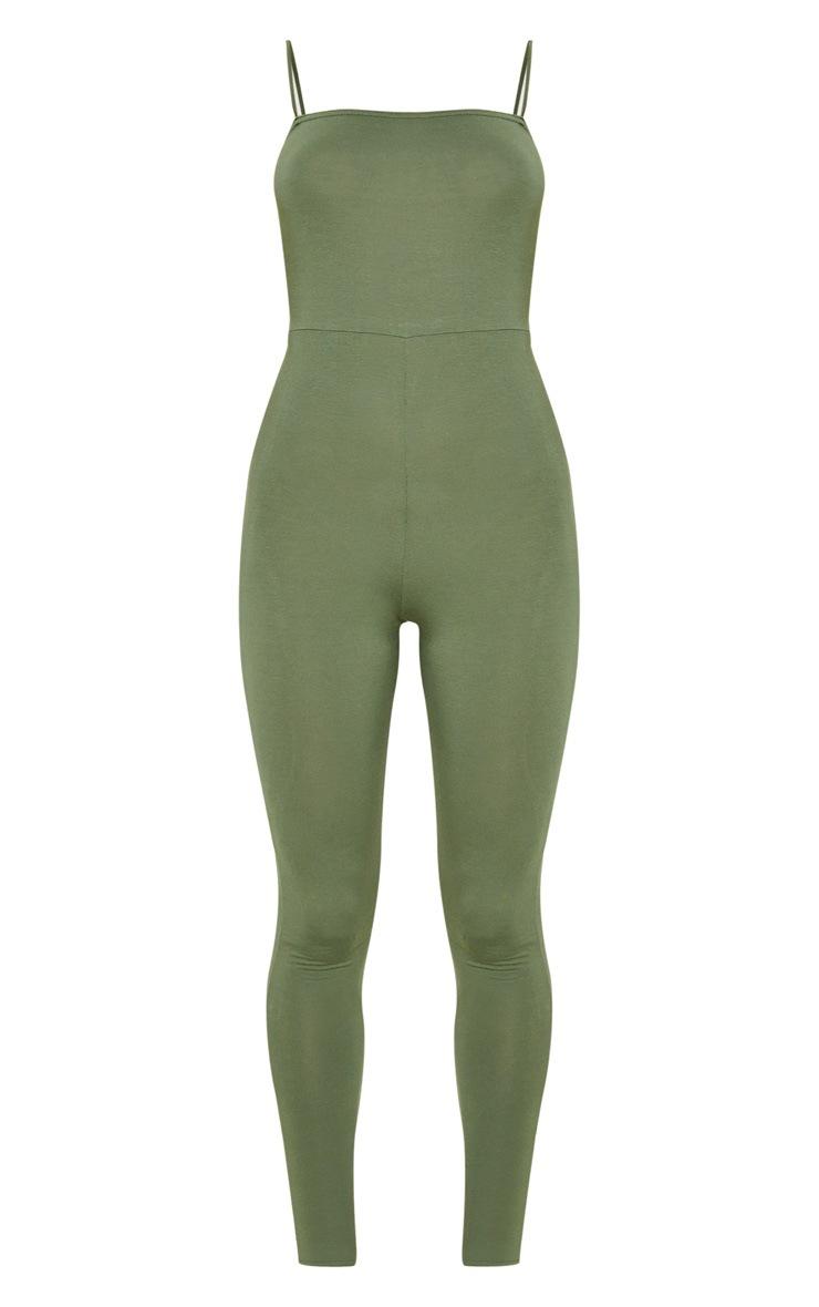Khaki Basic Strappy Jumpsuit 3