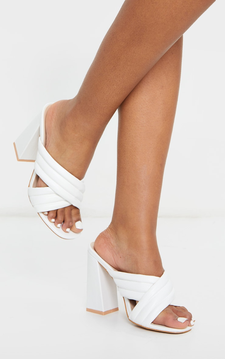 White Wide Fit Cross Strap Cushioned Mule Sandals 1