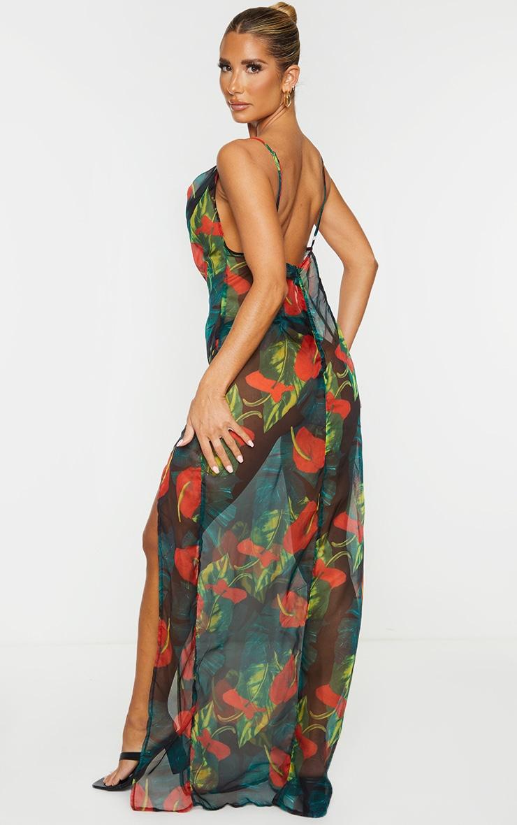 Red Floral Palm Cowl Neck Beach Dress 3