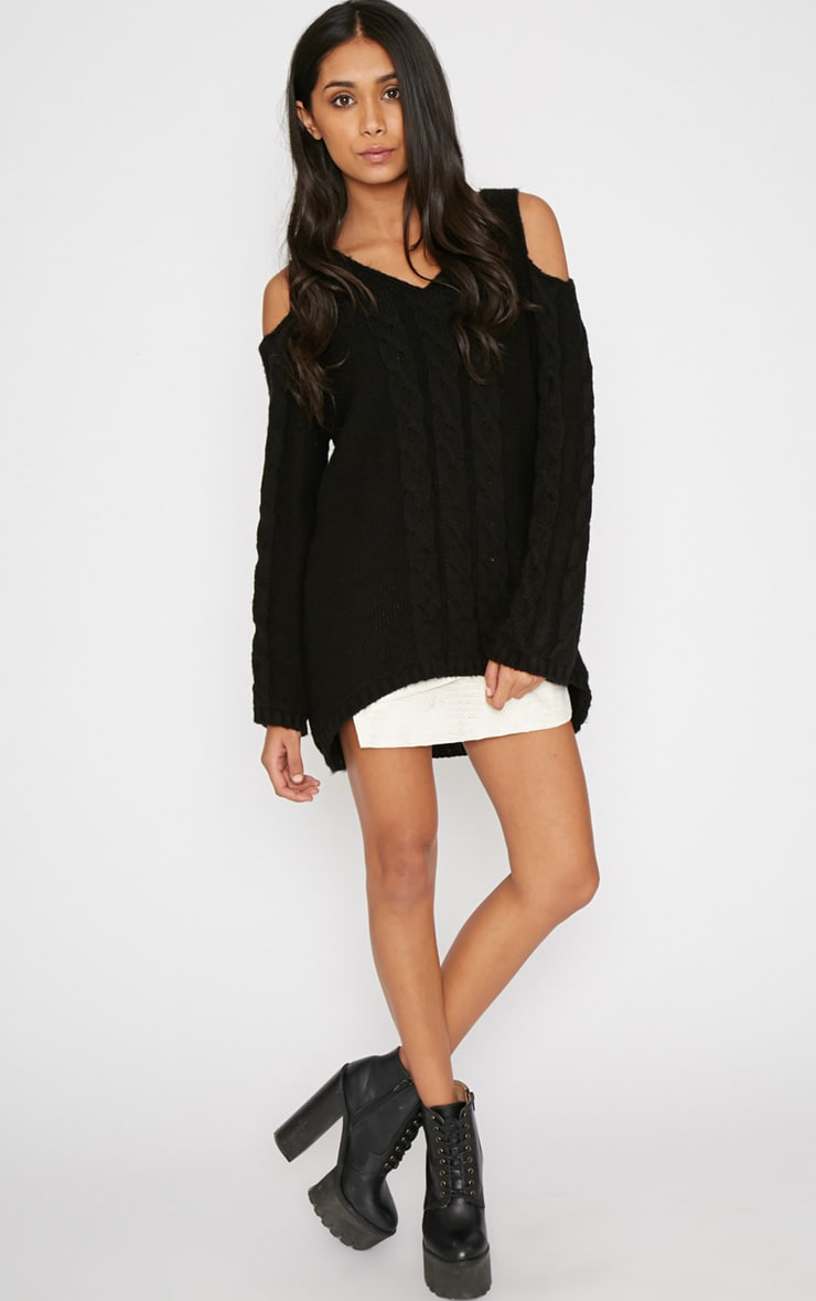 Clarisse Black Cut Out Shoulder Jumper  3