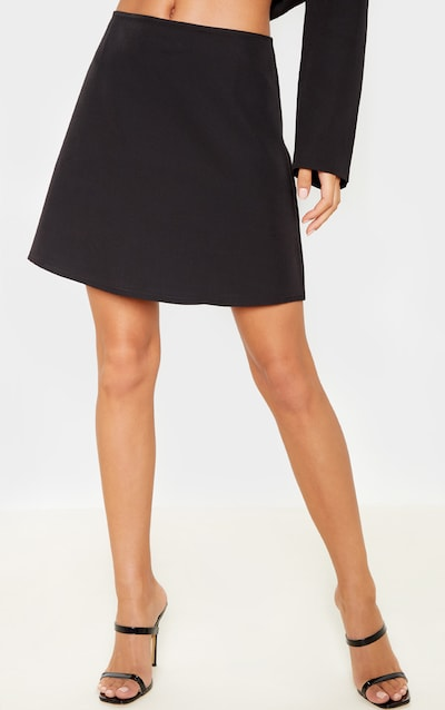 Black Woven A Line Mini Skirt