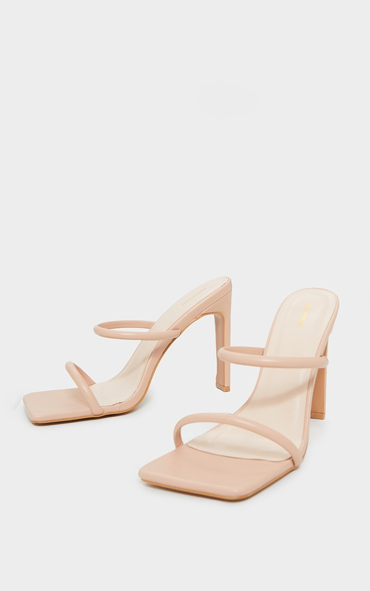 Nude PU Extreme Square Toe Twin Strap Mule High Heels 3