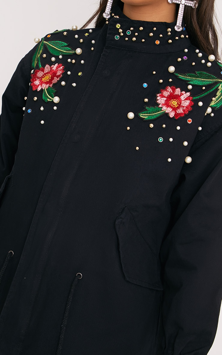 Lynelle Black Pearl Floral Badge Light Weight Jacket 5
