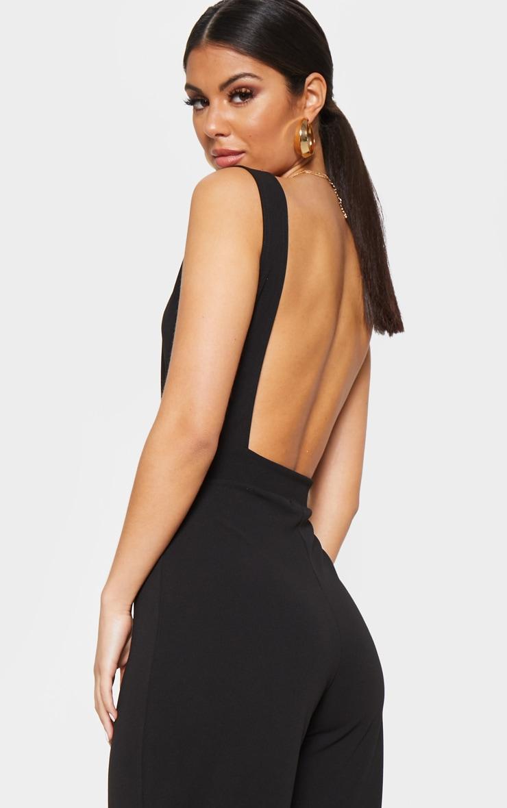 Black Plunge Backless Wide Leg Jumpsuit 5