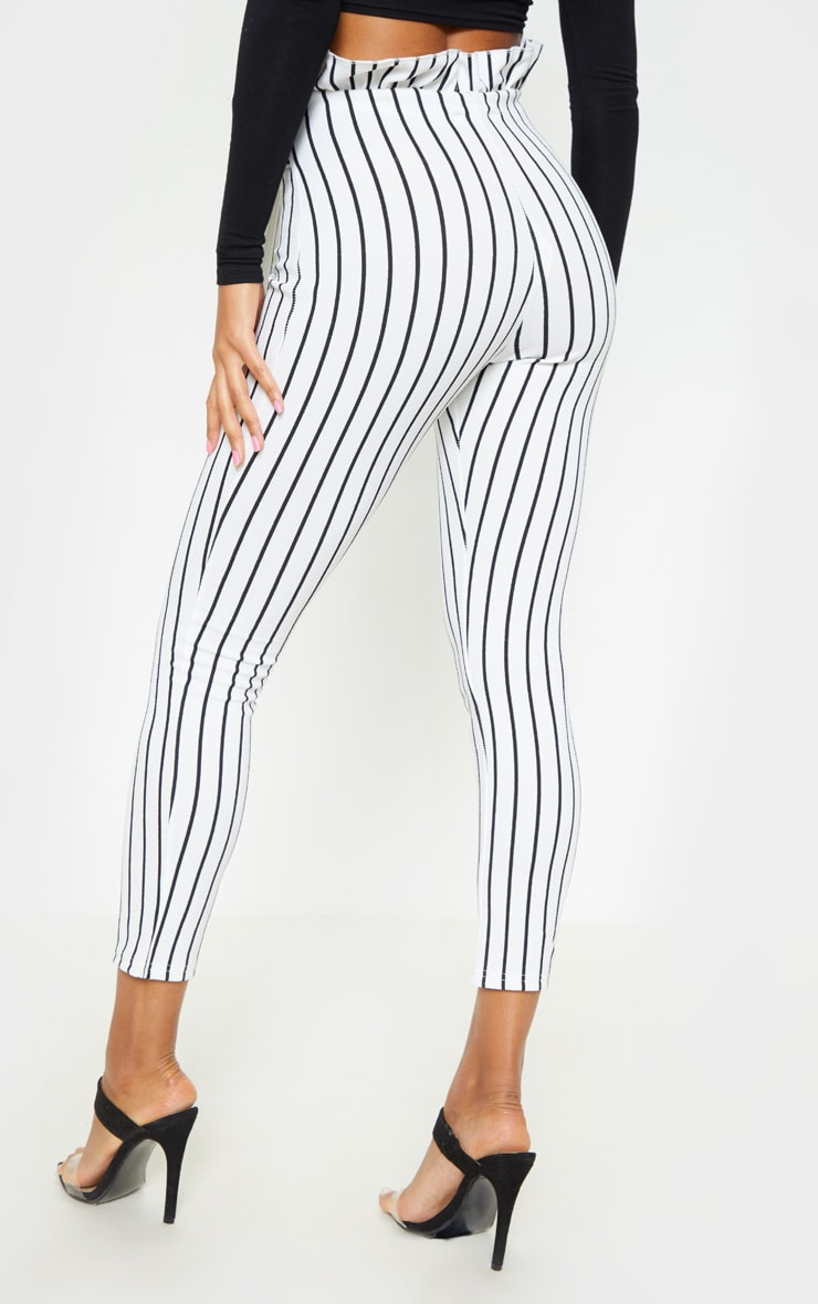 White Pinstripe Paperbag Skinny Trousers  4