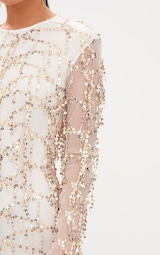 Freyana Rose Gold Sequin Detail Long Sleeve Bodycon Dress 5