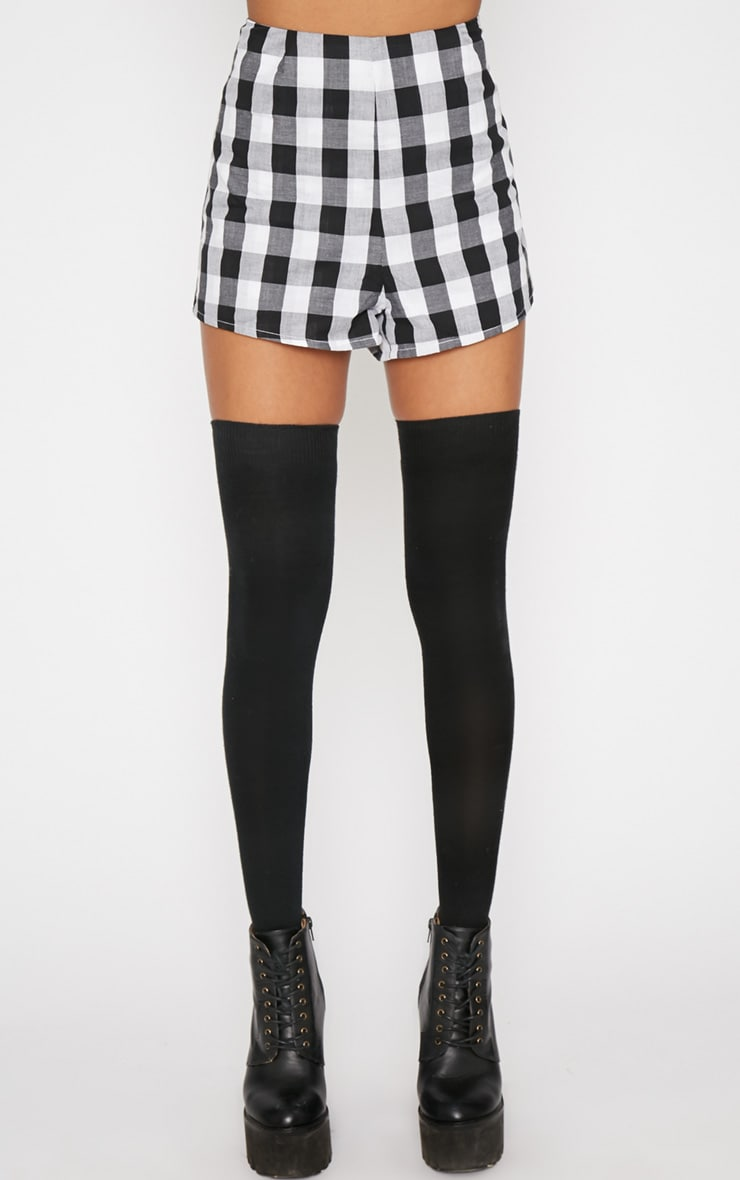 Portia Black Checked Short  2